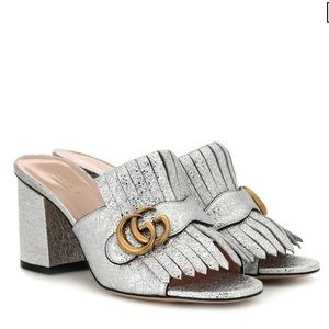 Gucci Marmont Silver Metallic Sandals/Mules